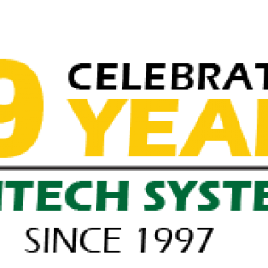 "Logo that reads, ""Celebrating 19 years,"" Digitech Systems, Since 1997"