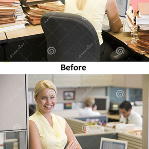 businesswoman-cubicle-5934163 before and after