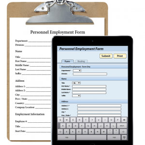 ipad-air-select-gray-w-handmade-eform with clipboard and paper