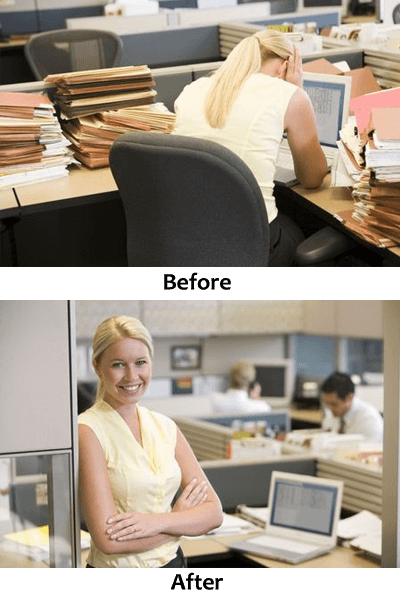 Insurance Worker in cubicle before and after implementation of Document Management