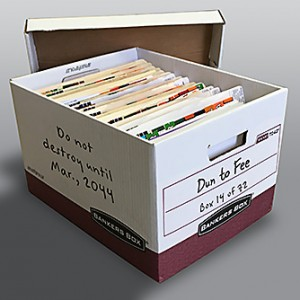 Photo of a bankers box filled with medical records.