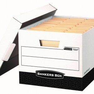 A photo of a bankers box with files.