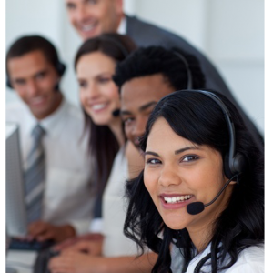 A photo of smiling call center operators.